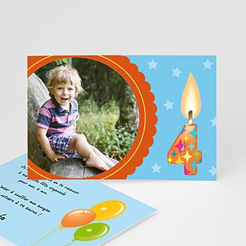 Carte invitation anniversaire garçon 4 ans personnalisé