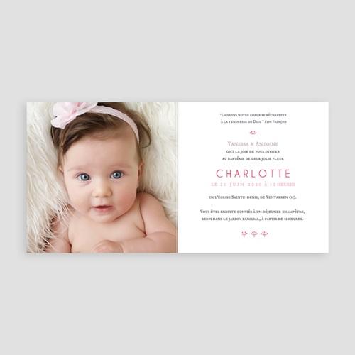 Faire-Part Baptême Fille Fleur rose pas cher