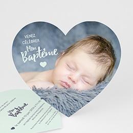 Faire-part baptême garçon - Coeur Pastel - 0