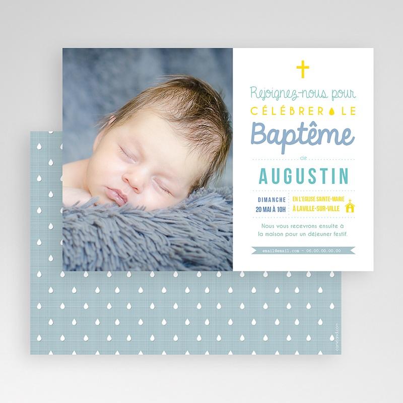 Faire-Part Baptême Garçon Camaieu de bleus gratuit