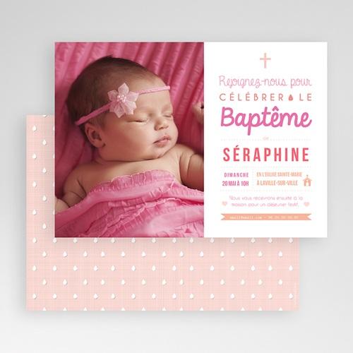 Faire-part Baptême Fille - Camaieu de roses 47029 preview