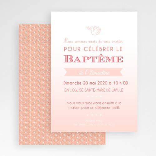 Faire-part Baptême Fille - Effet Dégradé Rose 47038 thumb