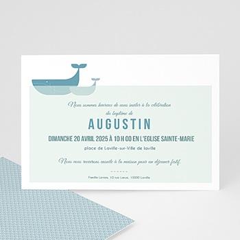 Faire-part Baptême Garçon - Baleine Bleue - 0
