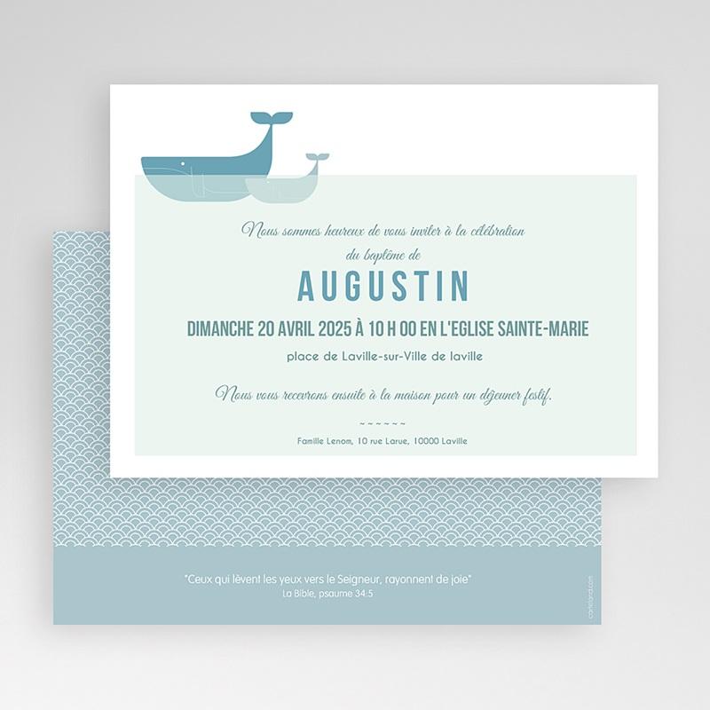Super Faire-part Baptême Garçon - Baleine Bleue | Carteland.com AY18