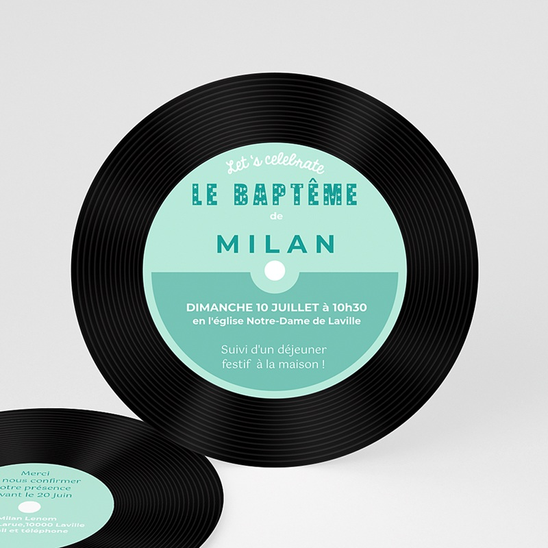 Faire-part Baptême Garçon - Baptême POP bleu 47101 thumb