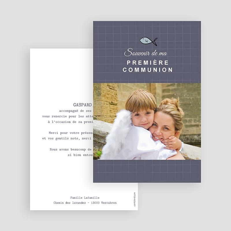 Carte Remerciement Communion Garçon Ichtus bleu, merci gratuit