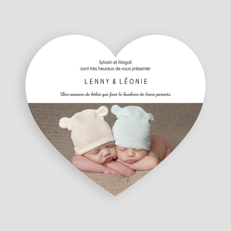 Faire-Part Naissance Jumeaux - Lapinoux d'amour 47181 thumb