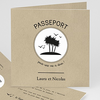 Faire Part Mariage Voyage - Passeport soleil - 0