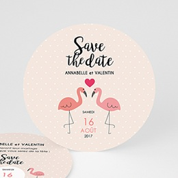Save the date Mariage Flamant rose