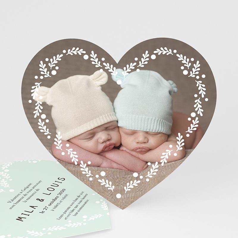 Faire-part naissance jumeaux Double coeur