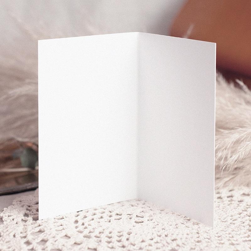 Faire-Part Mariage Vierge rectangle double vertical 10.5 cm x 15 cm à personnaliser pas cher