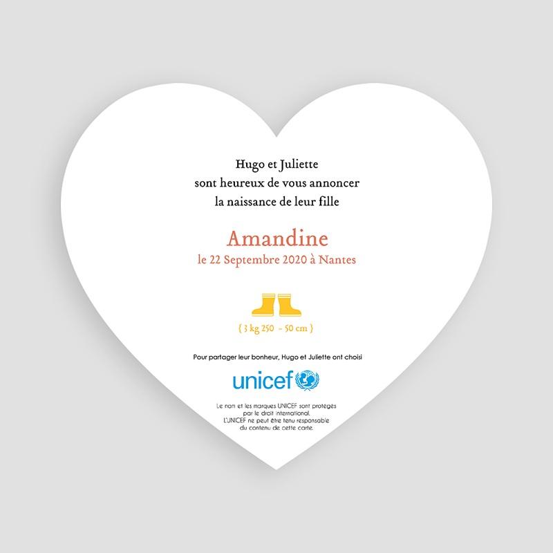 Faire-Part Naissance Fille UNICEF Lettre pour elle pas cher