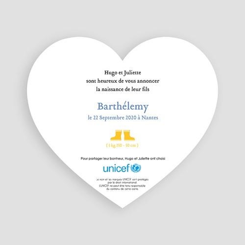 Faire-Part Naissance Garçon UNICEF Lettre pour lui pas cher