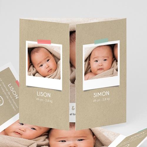 Faire-Part Naissance Jumeaux UNICEF - Twins & Kraft 47805 thumb