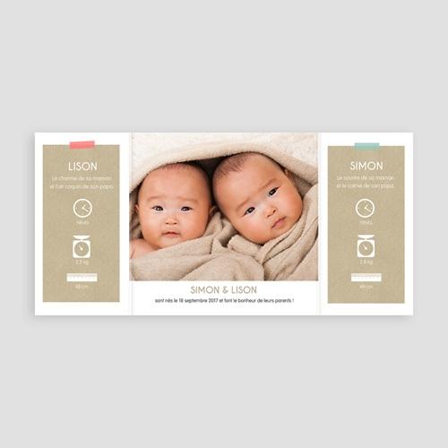 Faire-Part Naissance Jumeaux UNICEF - Twins & Kraft 47806 thumb
