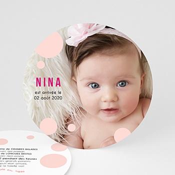 Faire-part naissance fille Enigme rose