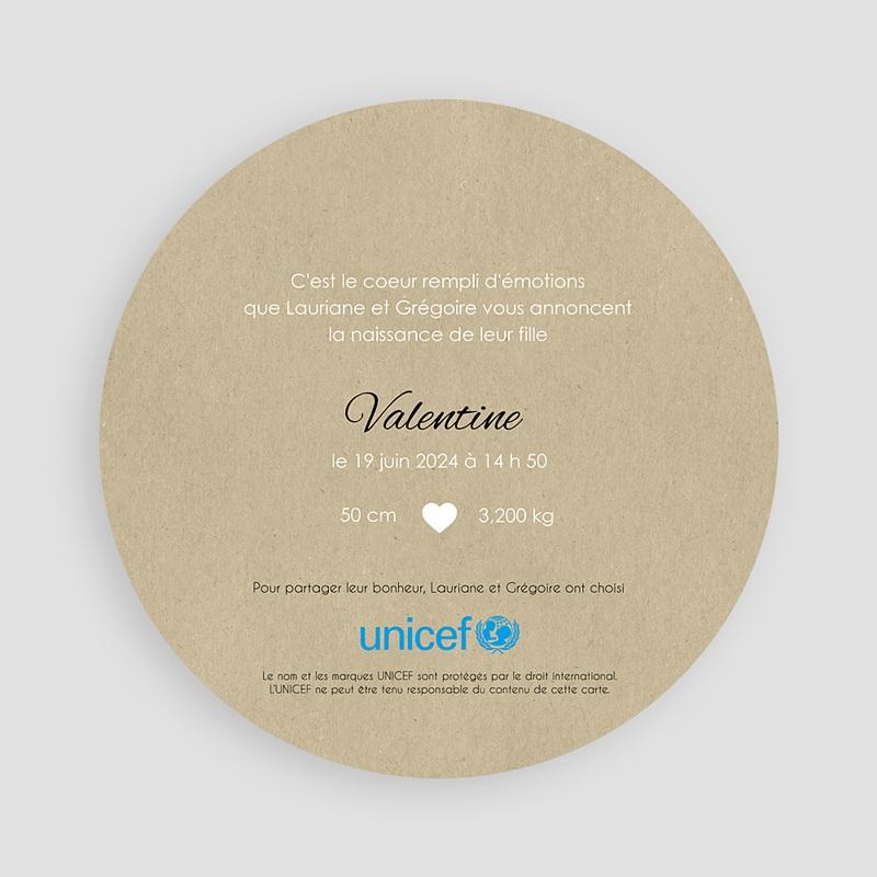 Faire-Part Naissance Fille UNICEF La ronde des coeurs pas cher