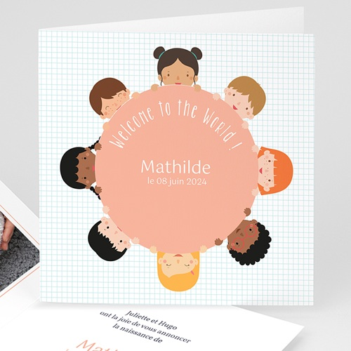 Faire-Part Naissance Fille UNICEF - Farandole fillettes 47821