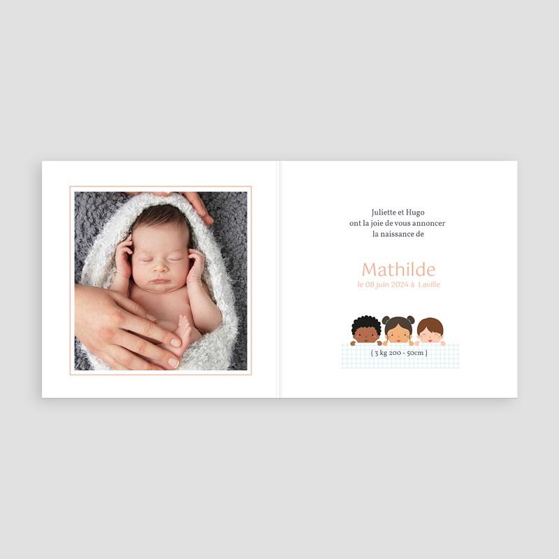 Faire-Part Naissance Fille UNICEF Farandole fillettes pas cher