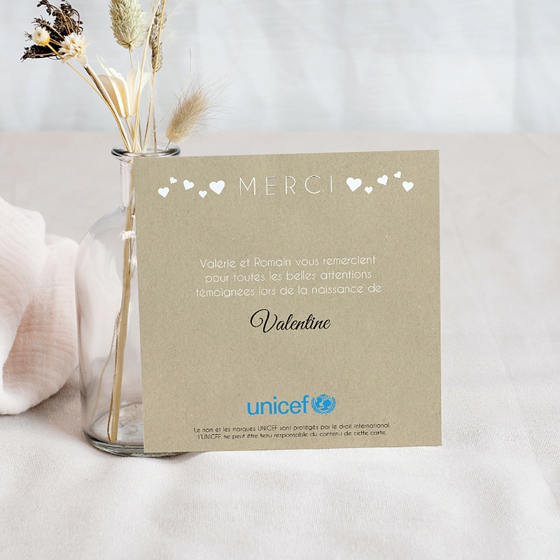 Carte Remerciement Naissance UNICEF Kraft et jolis coeurs pas cher