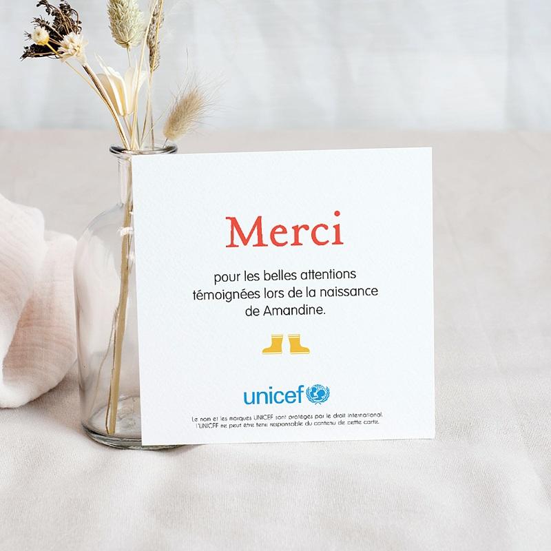 Carte Remerciement Naissance UNICEF Lettre pour elle pas cher