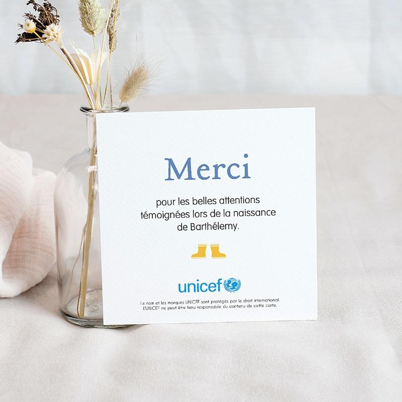 Carte Remerciement Naissance UNICEF Lettre pour lui pas cher