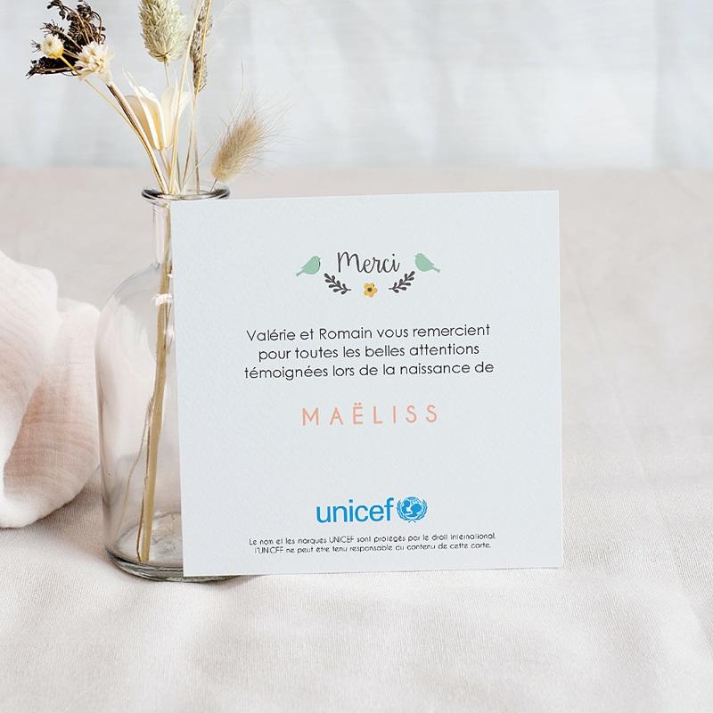 Carte Remerciement Naissance UNICEF Couronne et oisillons pas cher