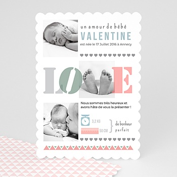 Faire part de naissance fille loved et colored gris