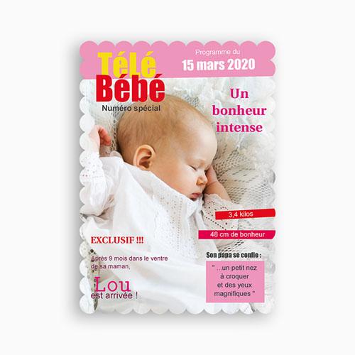 Faire-Part Naissance Fille - Télé bébé Dentelle 48006