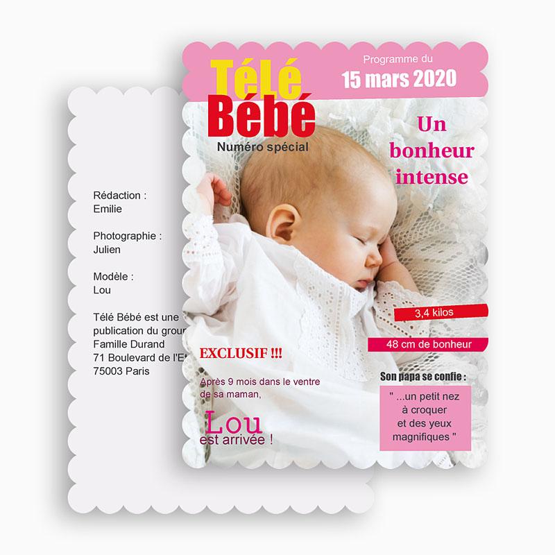 Faire-Part Naissance Fille Télé bébé Dentelle gratuit