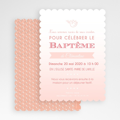 Faire-part Baptême Fille - Colombe Rose 48026 thumb