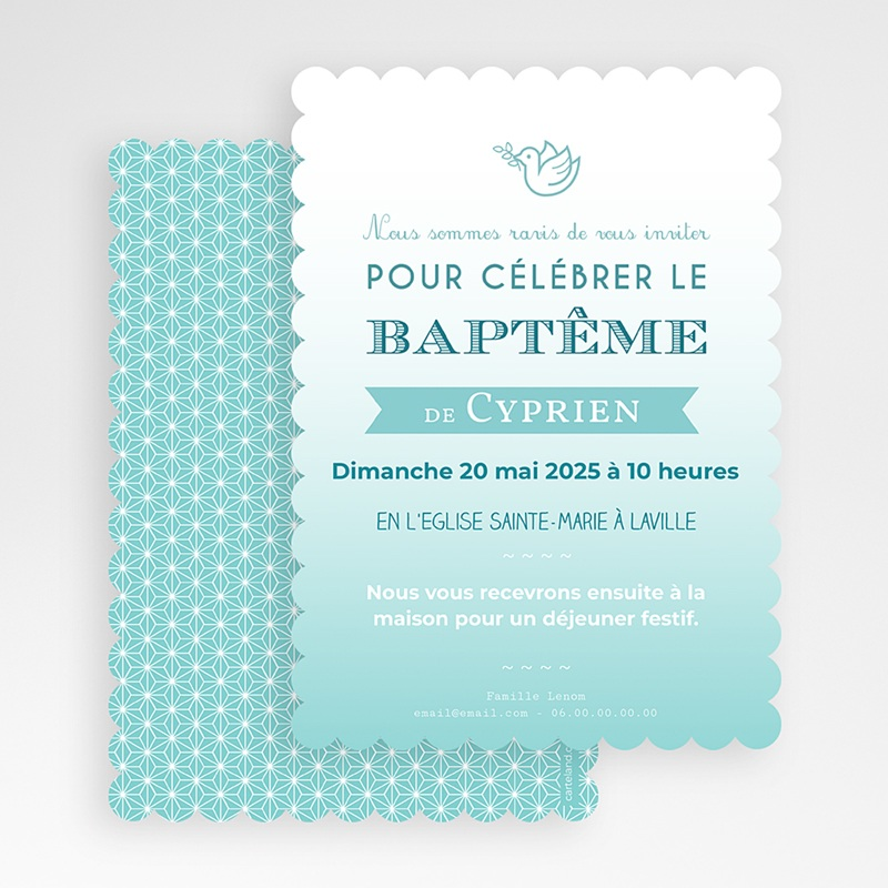 Faire-Part Baptême Garçon Colombe Bleue gratuit