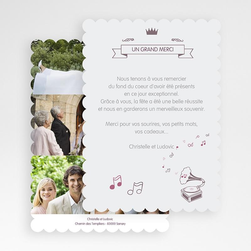 Carte Remerciements Mariage Mélodie gratuit