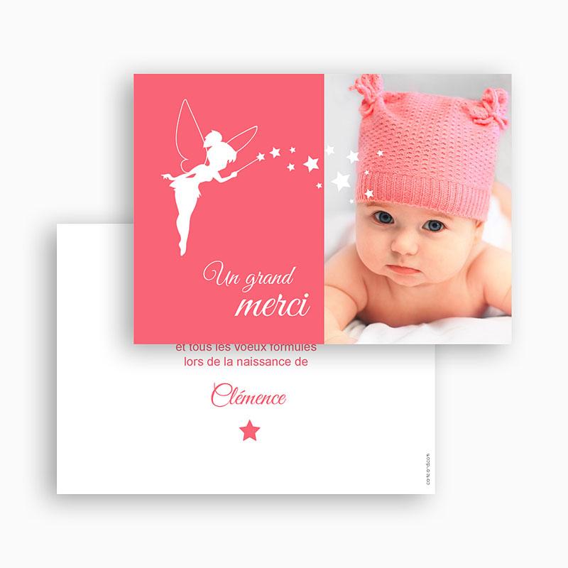 Carte Remerciement Naissance Fille Petite fée gratuit
