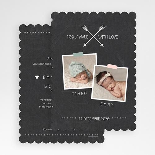 Faire-Part Naissance Jumeaux - Ardoise et Biscuit 48183 thumb
