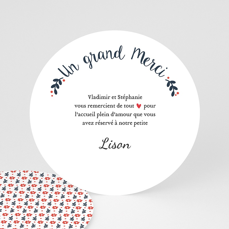 Carte remerciement naissance fille Blue and Red