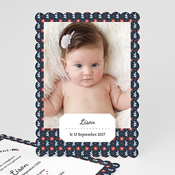 Faire part de naissance fille red flowers rouge