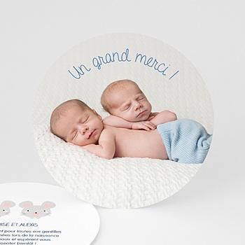 Carte remerciement naissance jumeaux souris jumeaux personnalisé