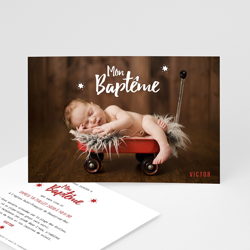 Faire-part Baptême Garçon - Etoile rouge 48281 thumb