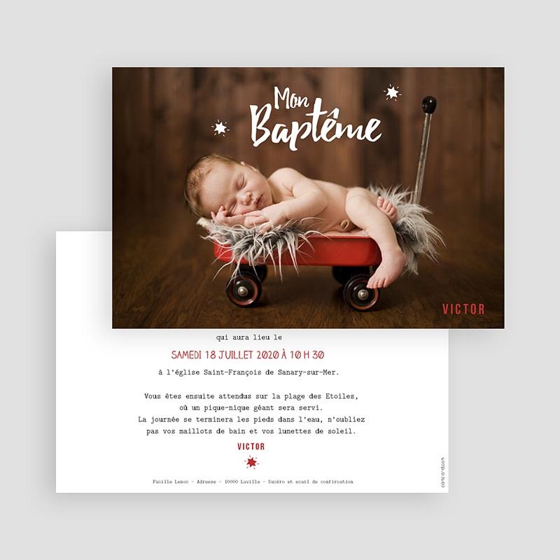 Faire-Part Baptême Garçon Etoile rouge gratuit