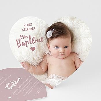 Acheter faire-part baptême fille coeur poudré