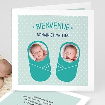 Faire-Part Naissance Jumeaux - Couffins bleus - 0