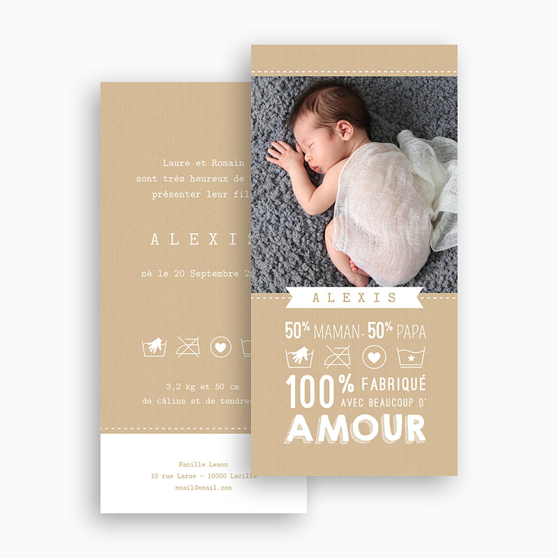 Faire-Part Naissance Garçon - Avec Amour 48328 thumb