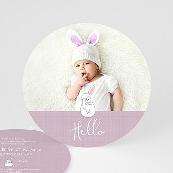 Faire part de naissance fille lapin malicieux animaux