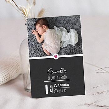 Faire-part naissance fille Tableau avec décors à personnaliser