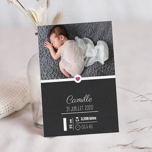 Faire-part naissance fille Tableau avec décors