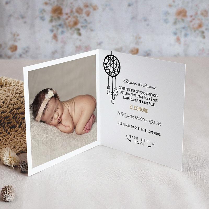 Faire-part naissance fille L'attrape-rêves Nature pas cher