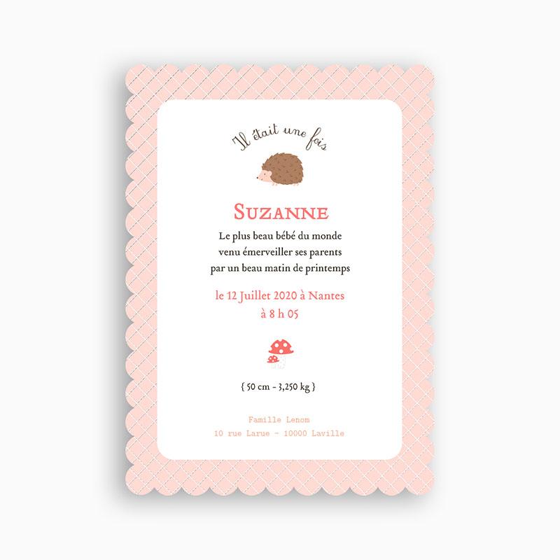 Faire-Part Naissance Fille Hérissonne pas cher