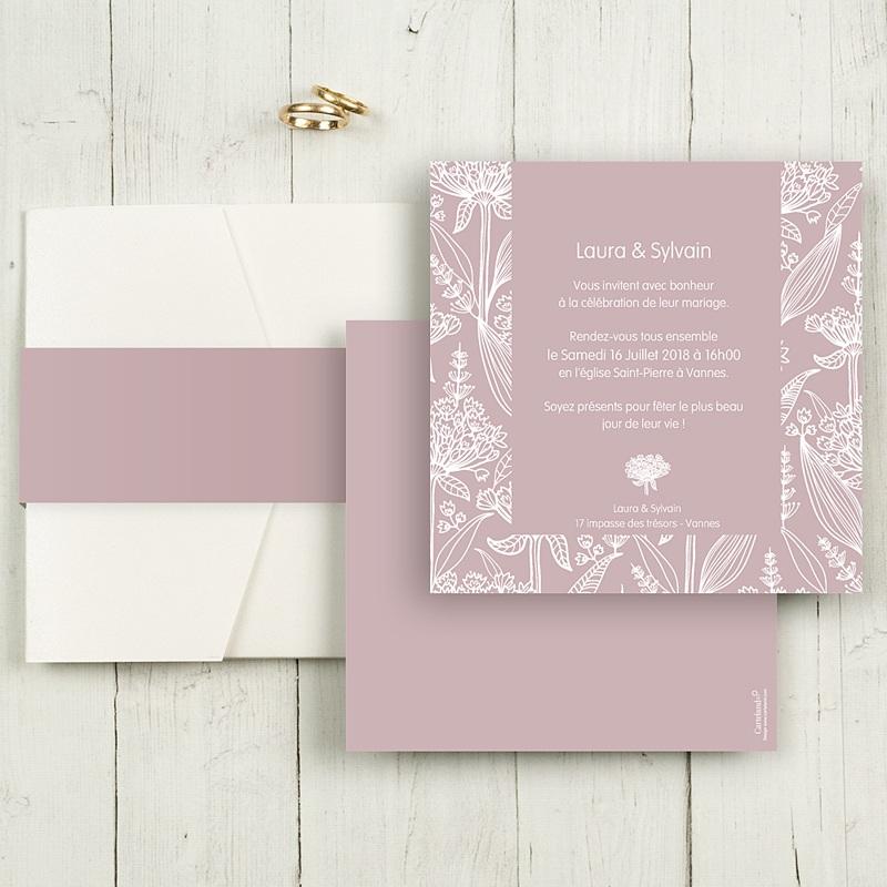 Faire-Part Mariage Pochette carré Douceur romantique