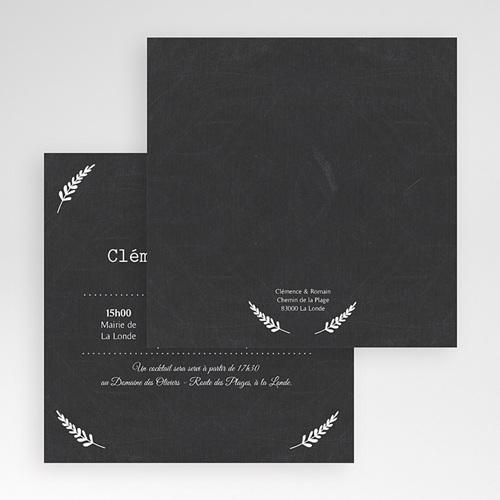 Faire-Part Mariage Pochette carré - Ardoise chic 48706 preview